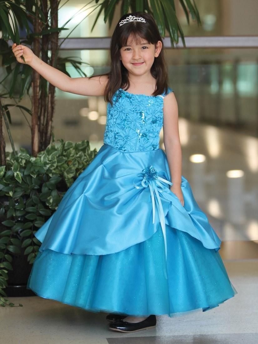 Turquoise Ball Gown Girls Pageant Dresses Taffeta Ruffles | Flower ...