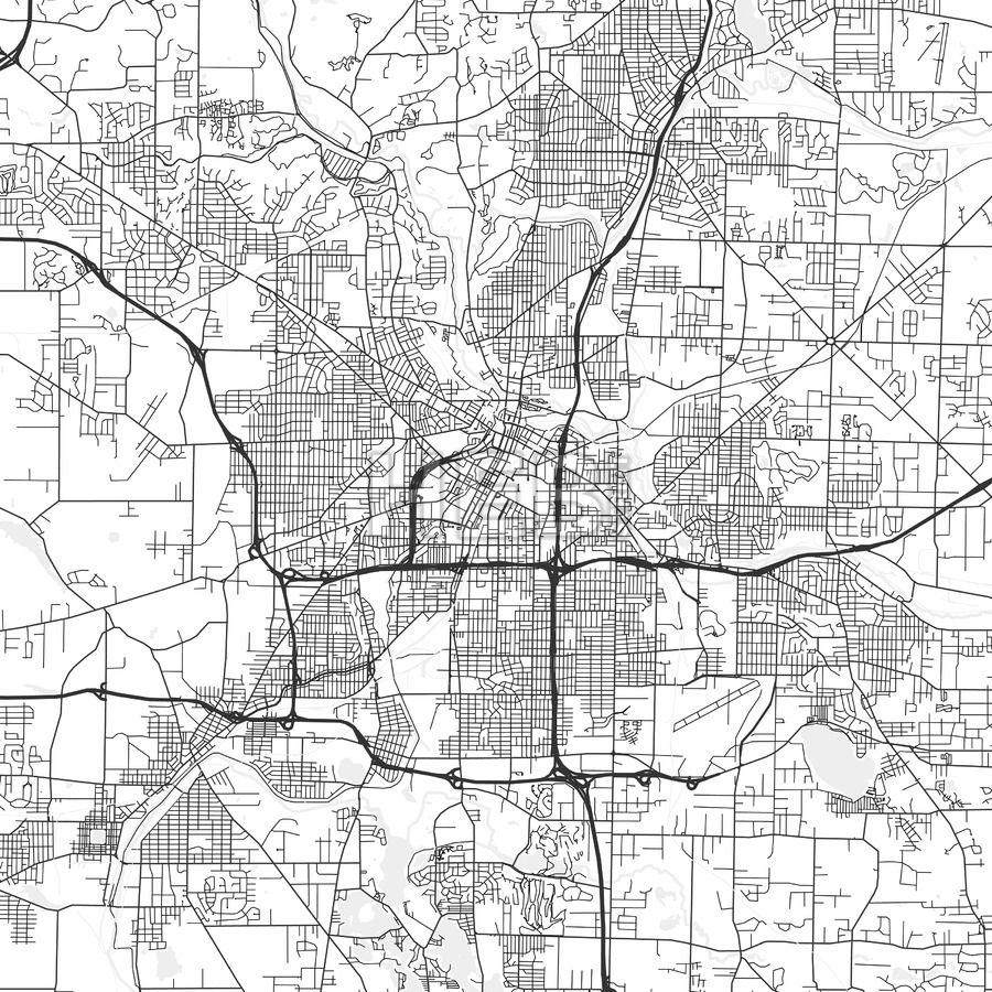 Akron Ohio Area Map Light Ui ux