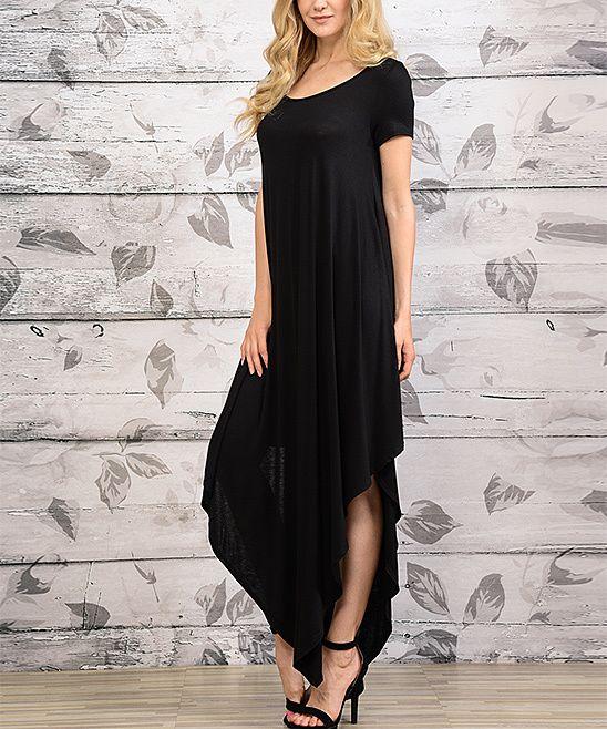 Black scoop neck maxi dress casual