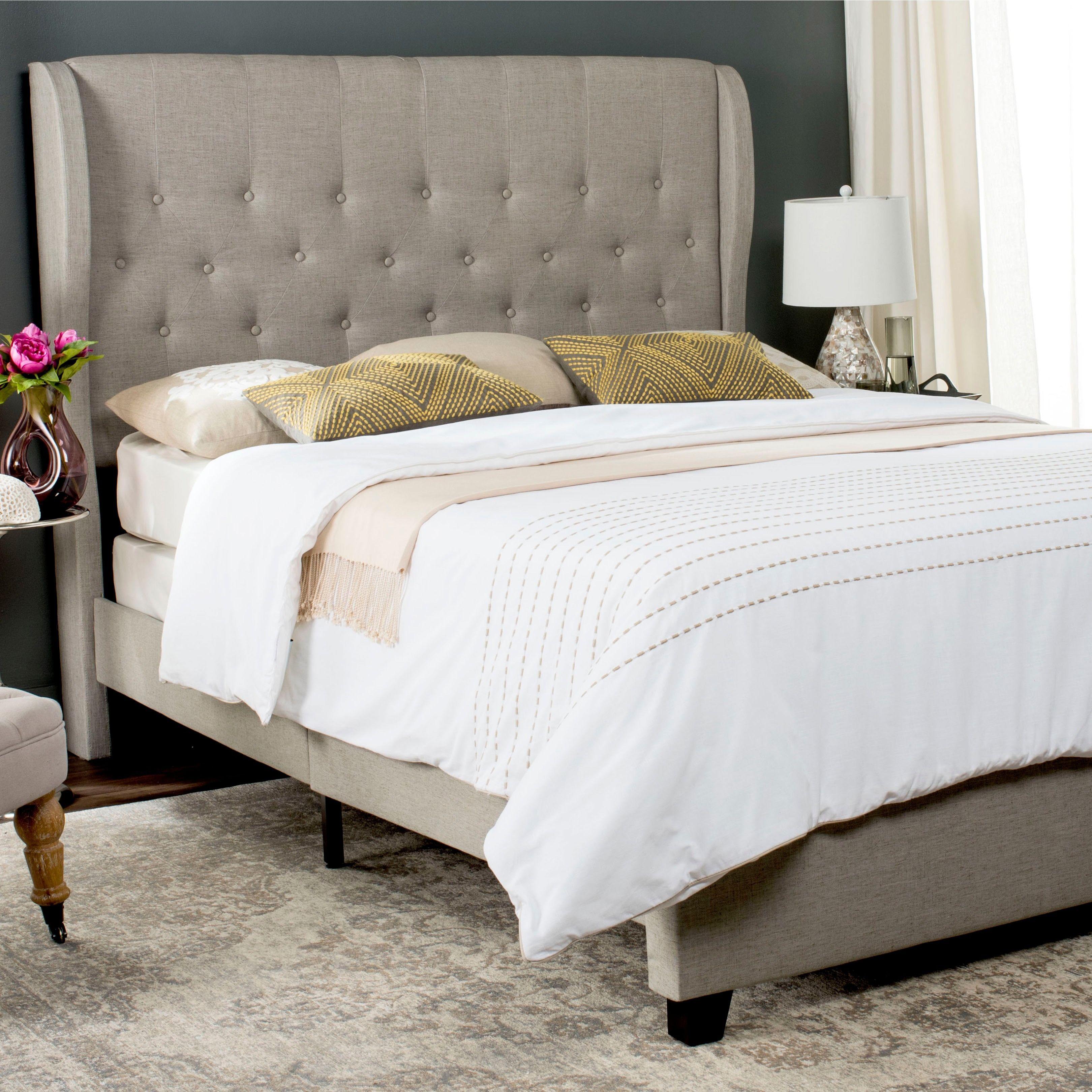 Best Safavieh Blanchett Light Grey Linen Upholstered Tufted 640 x 480