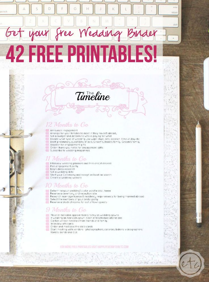 How to Put Together Your Perfect (FREE) Wedding Binder (+ 42 Free ...