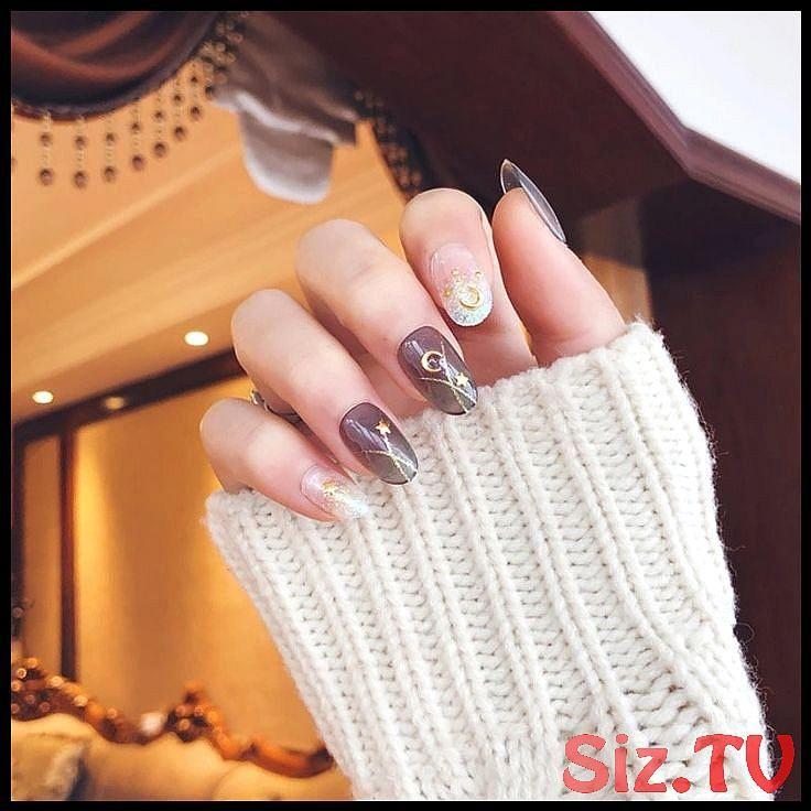 Shining Star Moon Designsfake Nails Faux Nails Glue On Nails White Nails Christmas Lights Round Tip Stilett Ongles Blancs Manucure Noel La Mode Des Ongles