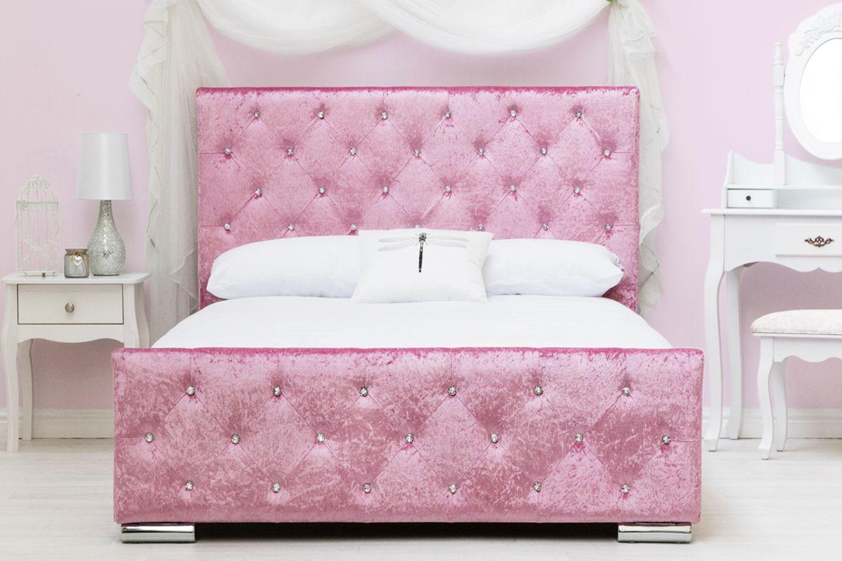 Pink Crushed Velvet Upholstered Girls Princess Double Bed