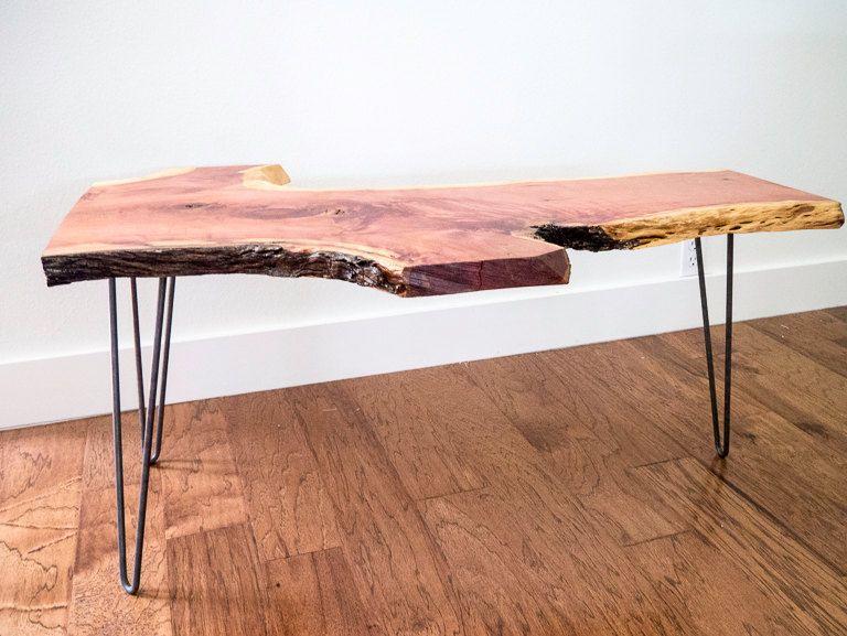 SALE Live Edge Cedar Coffee Table on Raw Steel Hairpin Legs home