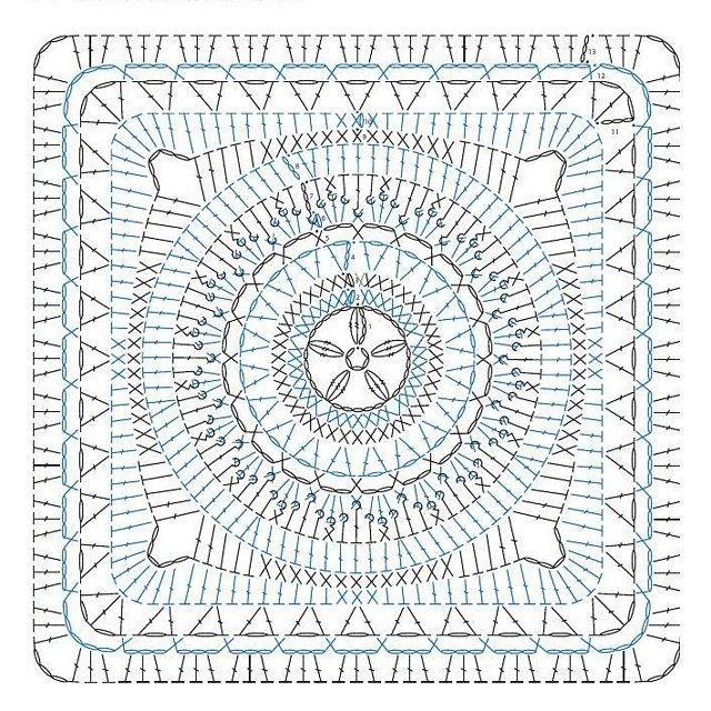 Crochet granny chart pattern | детское покрывало | Pinterest ...