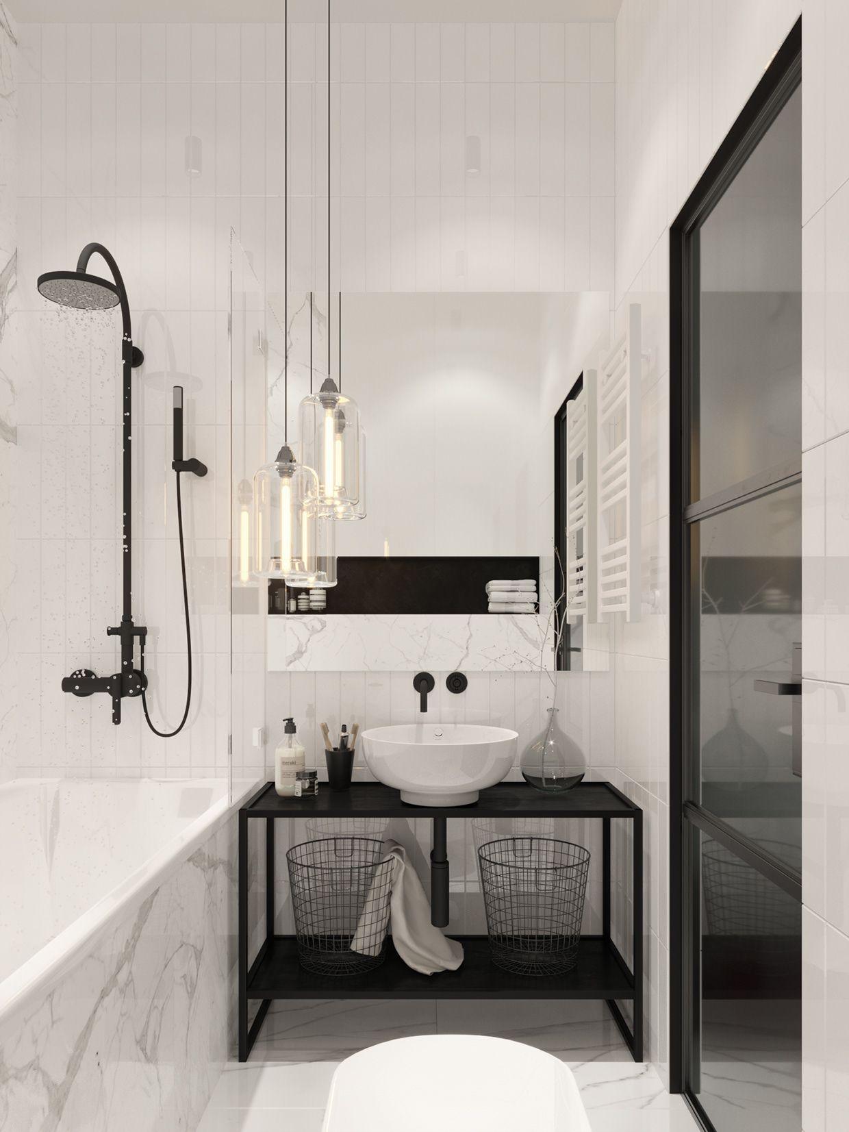 Total Look Noir Et Blanc Pour Cette Salle De Bain La Fois Classique Au Design Impeccable Bathroom Bathroomideas Bathroomdesign Salledebain