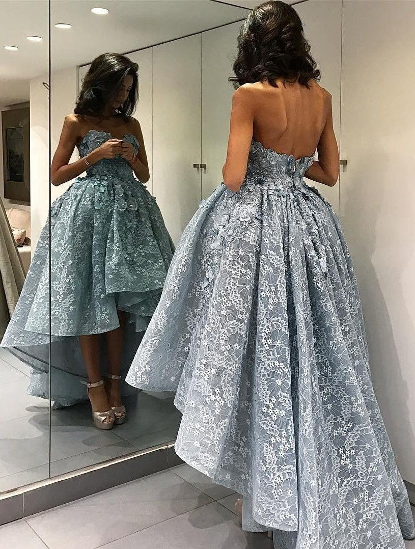2017 Ball Gown High-Low Sleeveless 3D Floral Appliques Prom Dresses ... aaf9d132e