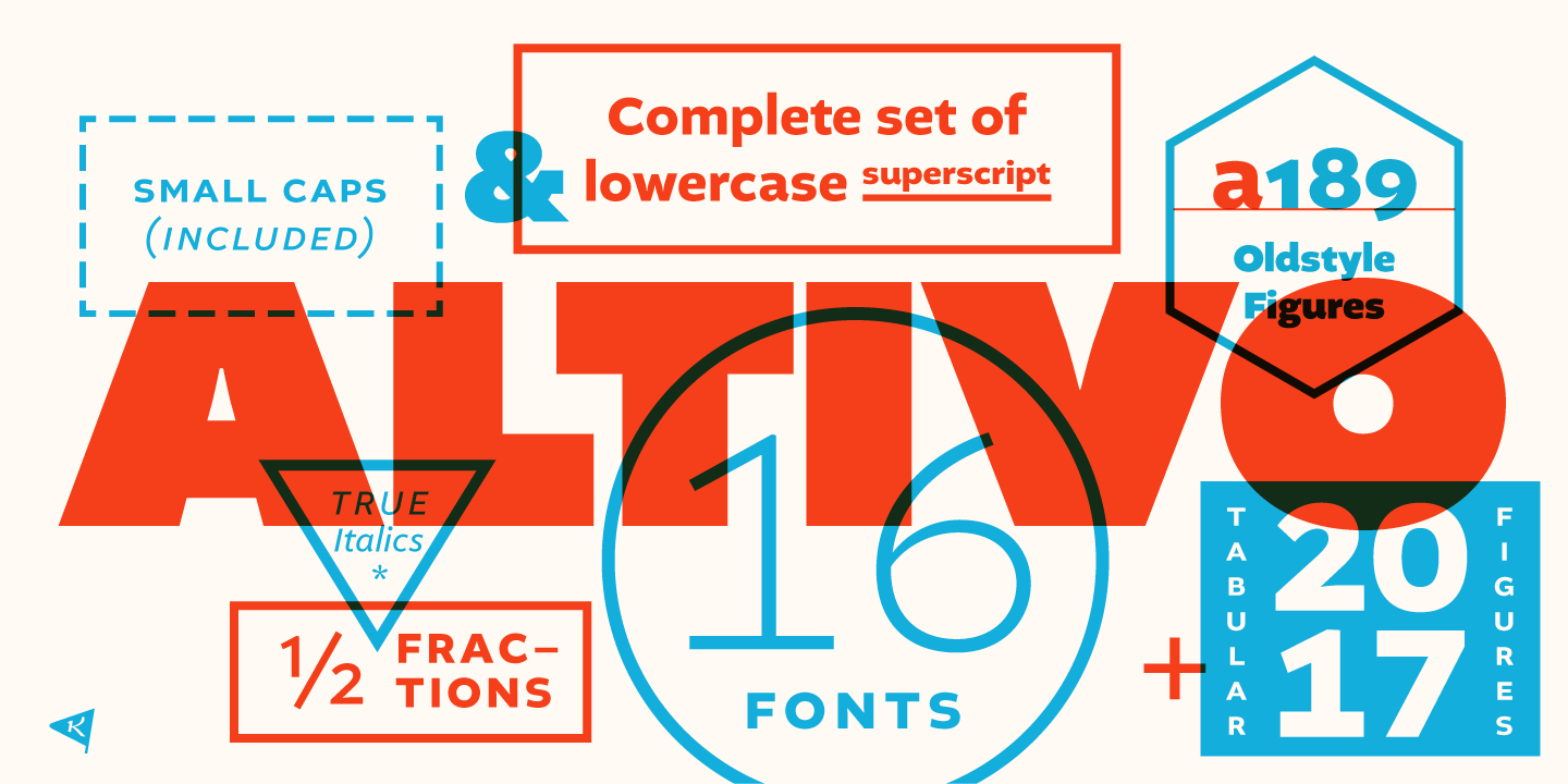 Altivo font family by Kostic Type Foundry.