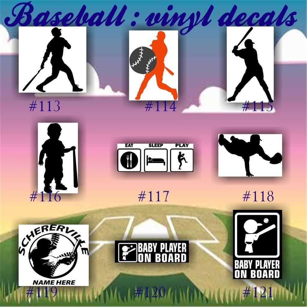 BASEBALL Vinyl Decals  Vinyl Stickers Car Window - Custom car decals baseball