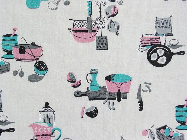Vintage Kitchen Print Fabric Pink Aqua Vintage Kitchen Curtains Kitchen Fabric Fabric Wallpaper