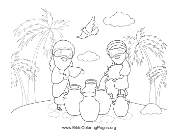 Elisha Multiplies The Jars Of Oil In This Old Testament Coloring Page For Kids