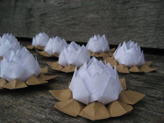 Fleurs origami n nuphar led photophore bougie titulaires papier fleur de lotus lumi re blanc et - Origami fleur de lotus ...