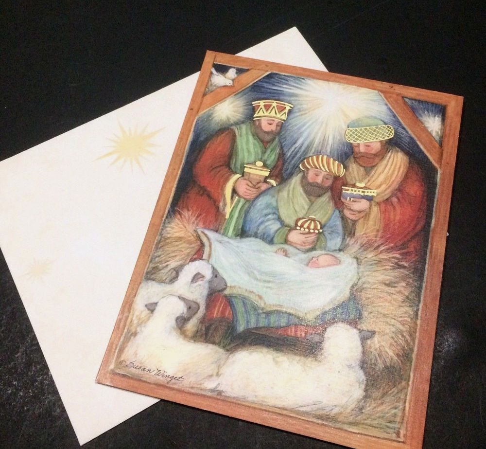 Lang Christmas Cards His Birth Christ Wise Men Manger Jesus ...