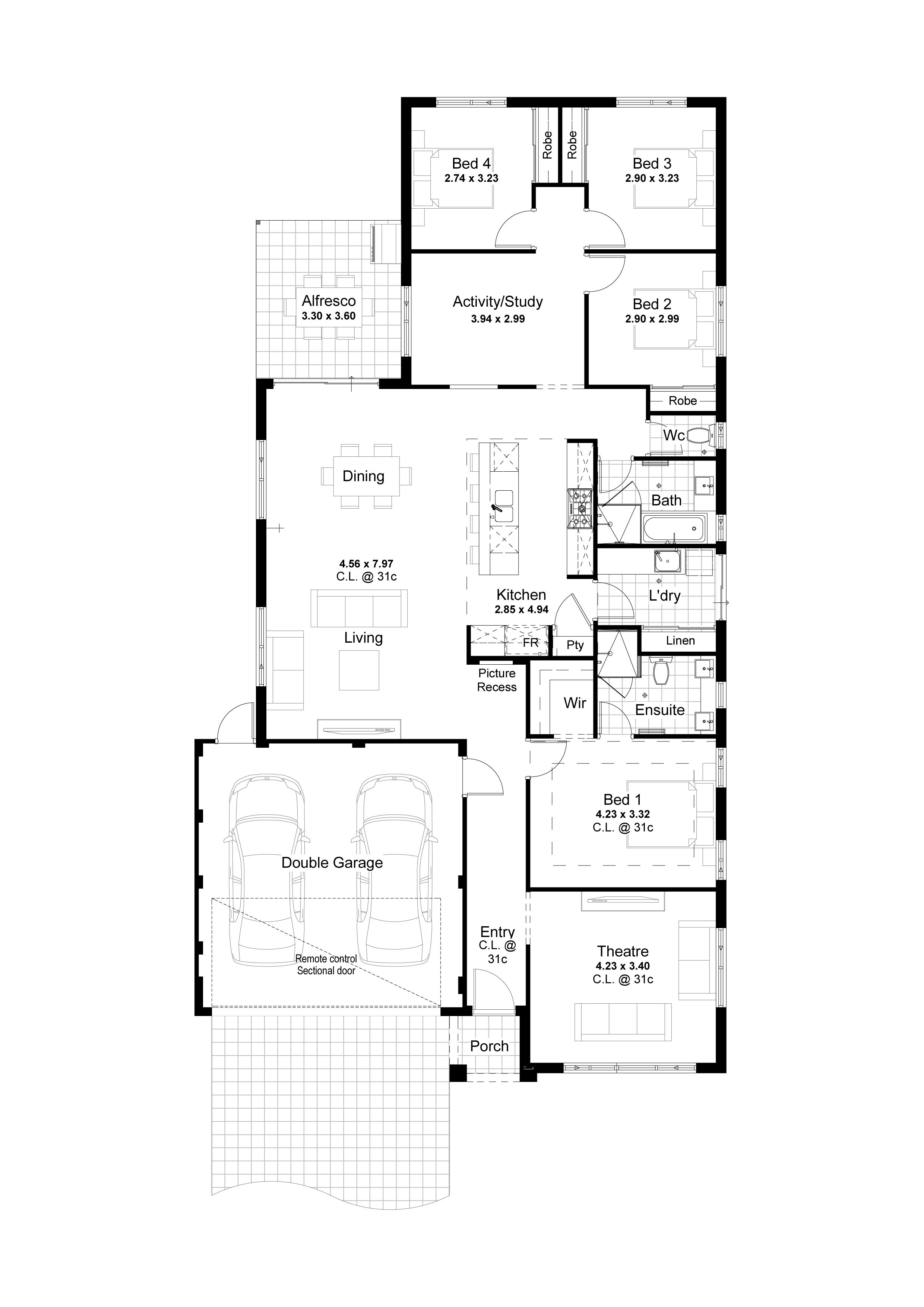 4 Bed 2 Baths Modern Family Home Design The Utopia V3 4 Bedroom House Plans Best House Plans Bedroom House Plans