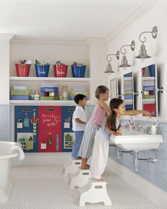 Kids Bathroom Storage Ideas Part - 19: Kid Friendly Bathroom - Hmm Is 3 Sinks Too Many?
