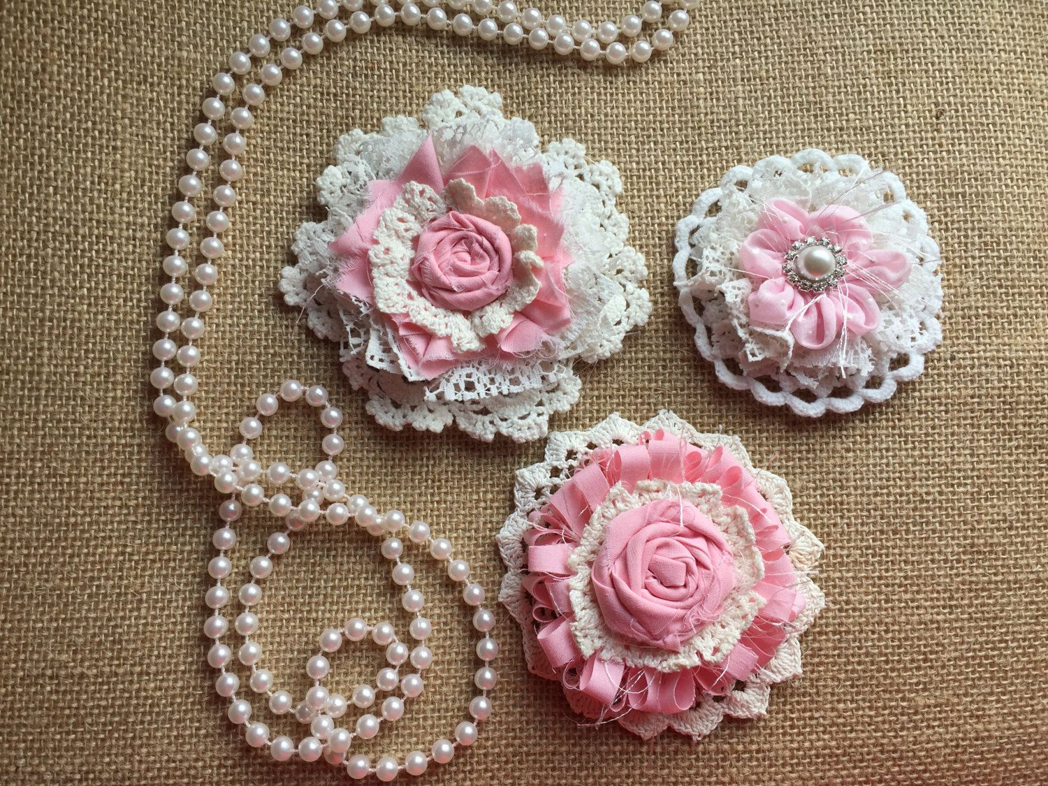 Shabby Chic Fabric Flowerrustic Chicgirl Room Decor Pink And