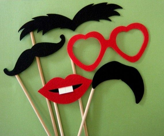moustach/sunglasses/lips on a stick! hilarious for photos!