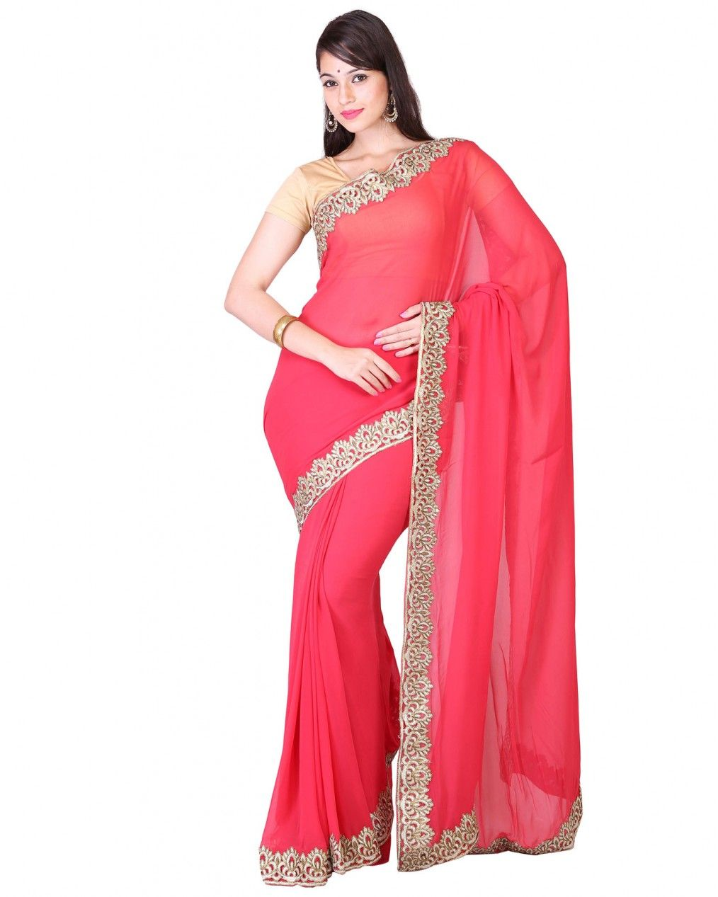 79645bf389 Pure soft georgette saree of 5.5 - 6 meters in length, not inclusive of  blouse piece suits for any occasion.