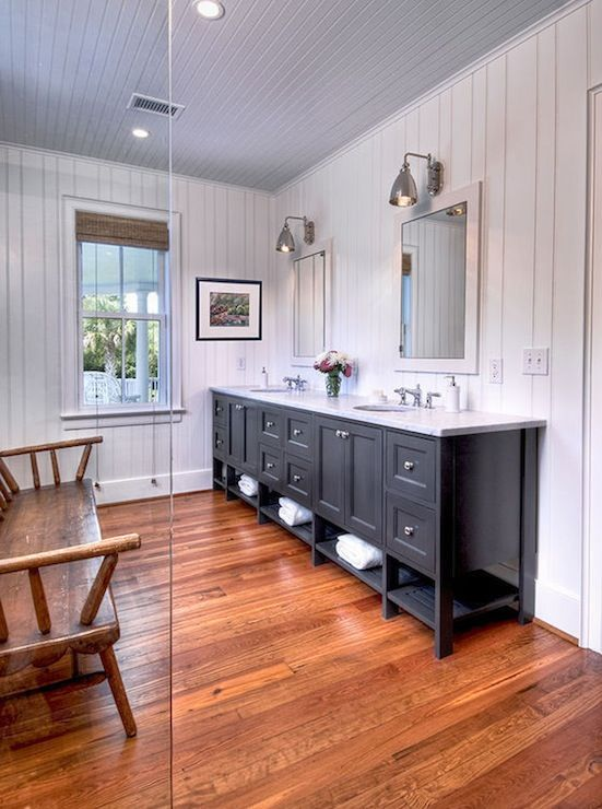 Black Double Vanity Cottage Bathroom Herlong