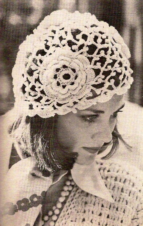 Shabby chic wedding hat Crochet beanie hat Lace bridal hat