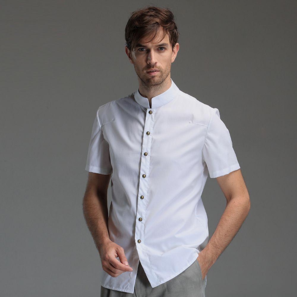 Mandarin Collar Short Sleeve Cotton Shirt - White - Chinese Shirts ...