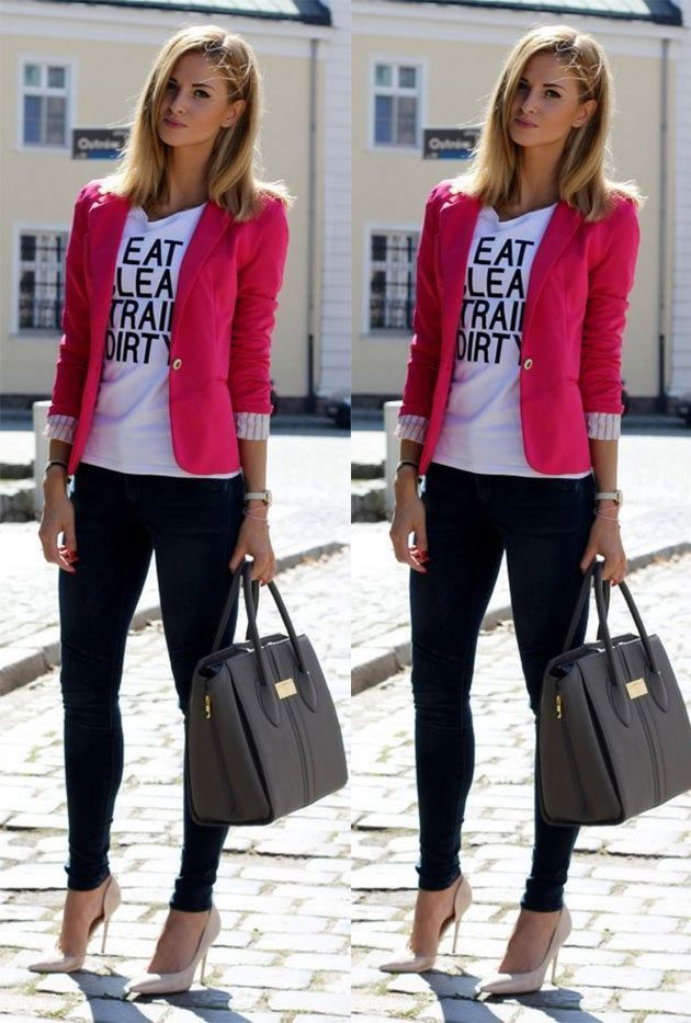 3325df46fd Look com blazer - rosa veja mais no blog eucapricho
