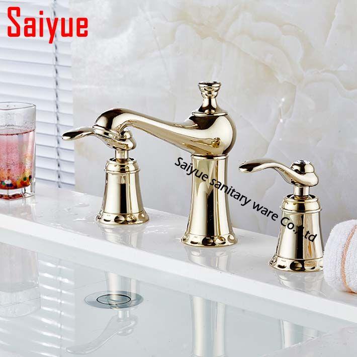 Mini Widespread 3 Holes Basin Faucet Gold Finish Bathroom Sink Mixer ...