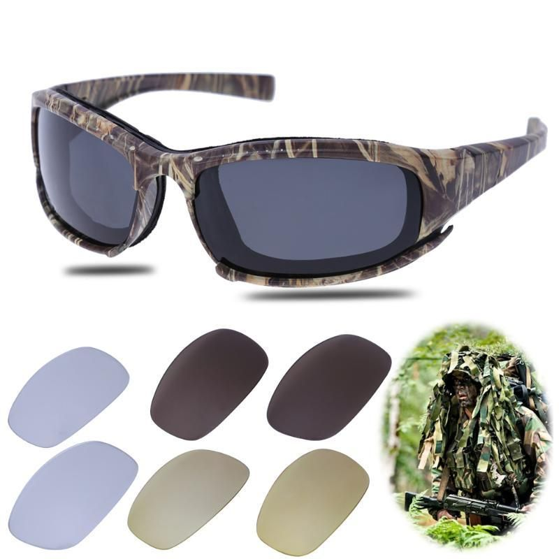 a21149a49d2 Camo Frame Sun Glasses With 4 Lens Polarized Lens Men Fishing Cycling Sports  Sunglasses Tactical Goggles Outdoor UV400 Eyewear