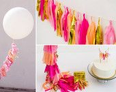 Party to Go, Tissue Tassel Decor Birthday Package in Pink Punch