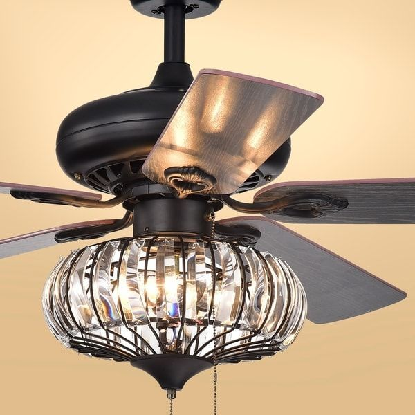 Chrysaor 3 Light Crystal 5 Blade 52 Inch Matte Black Ceiling Fan Optional Remote With Images Ceiling Fan With Light Black Ceiling Fan Ceiling Fan Chandelier
