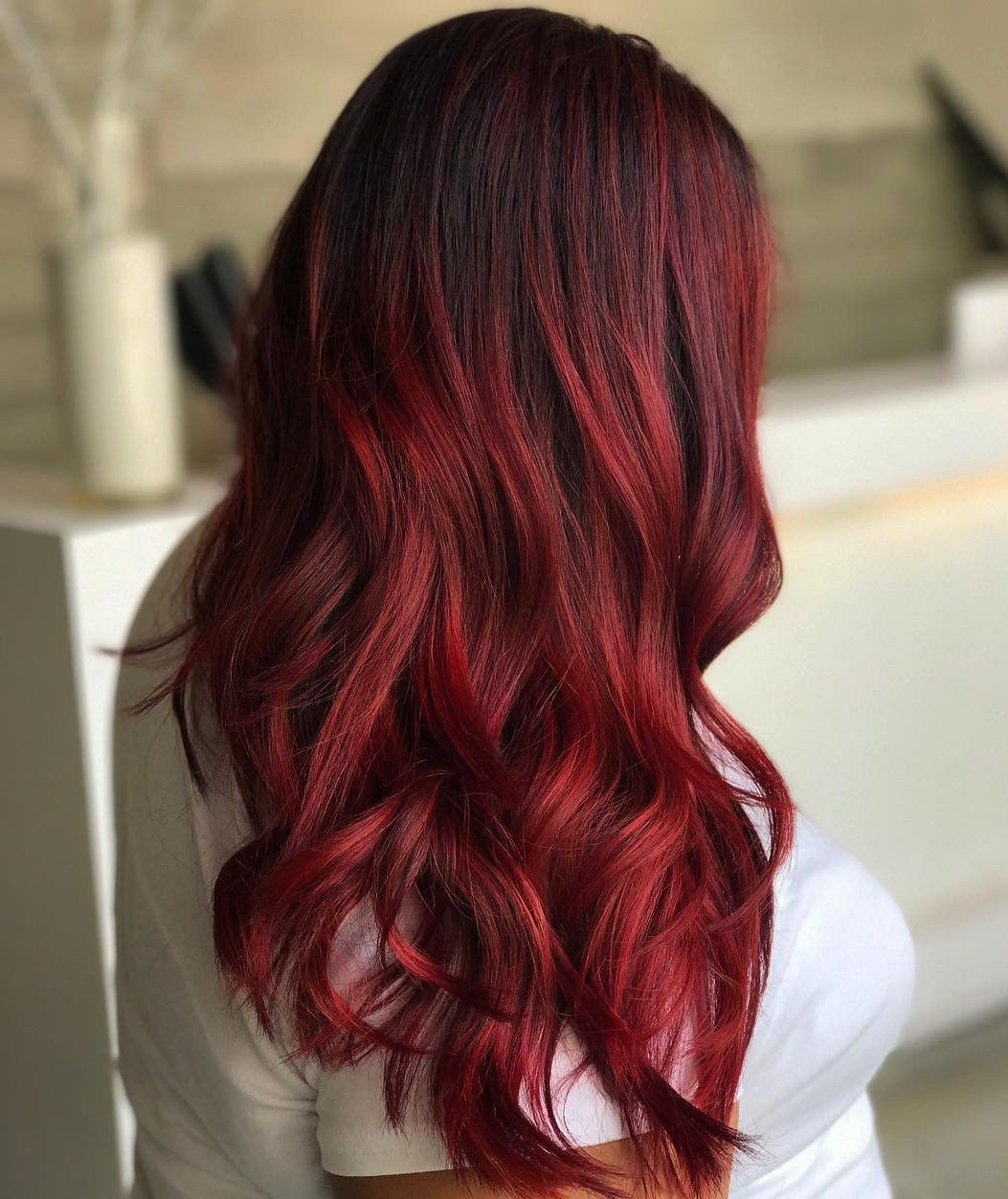 45 Shades Of Burgundy Hair Dark Burgundy Maroon Burgundy With Red Purple And Brown Highlights Red Balayage Burgundy Hair Red Hair Color