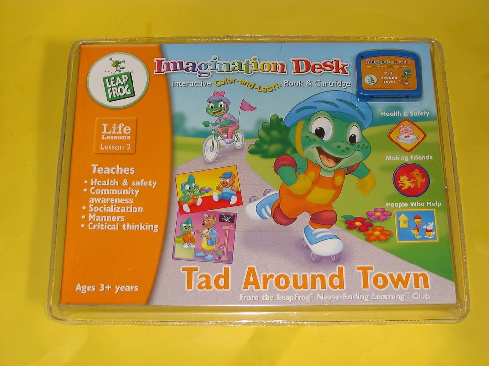 New Leapfrog Imagination Desk Tad Around Town Life Lessons Cartridge Book