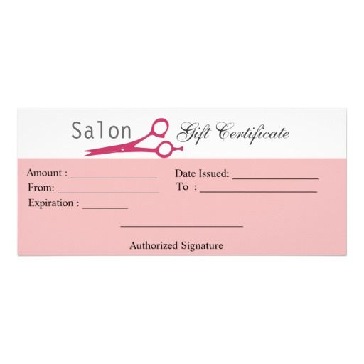Salon Hair Stylist Cosmetologist Gift Certificate Rack Card