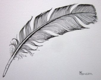 Line Drawing Of Quill : Crow feather drawing google search tattoos