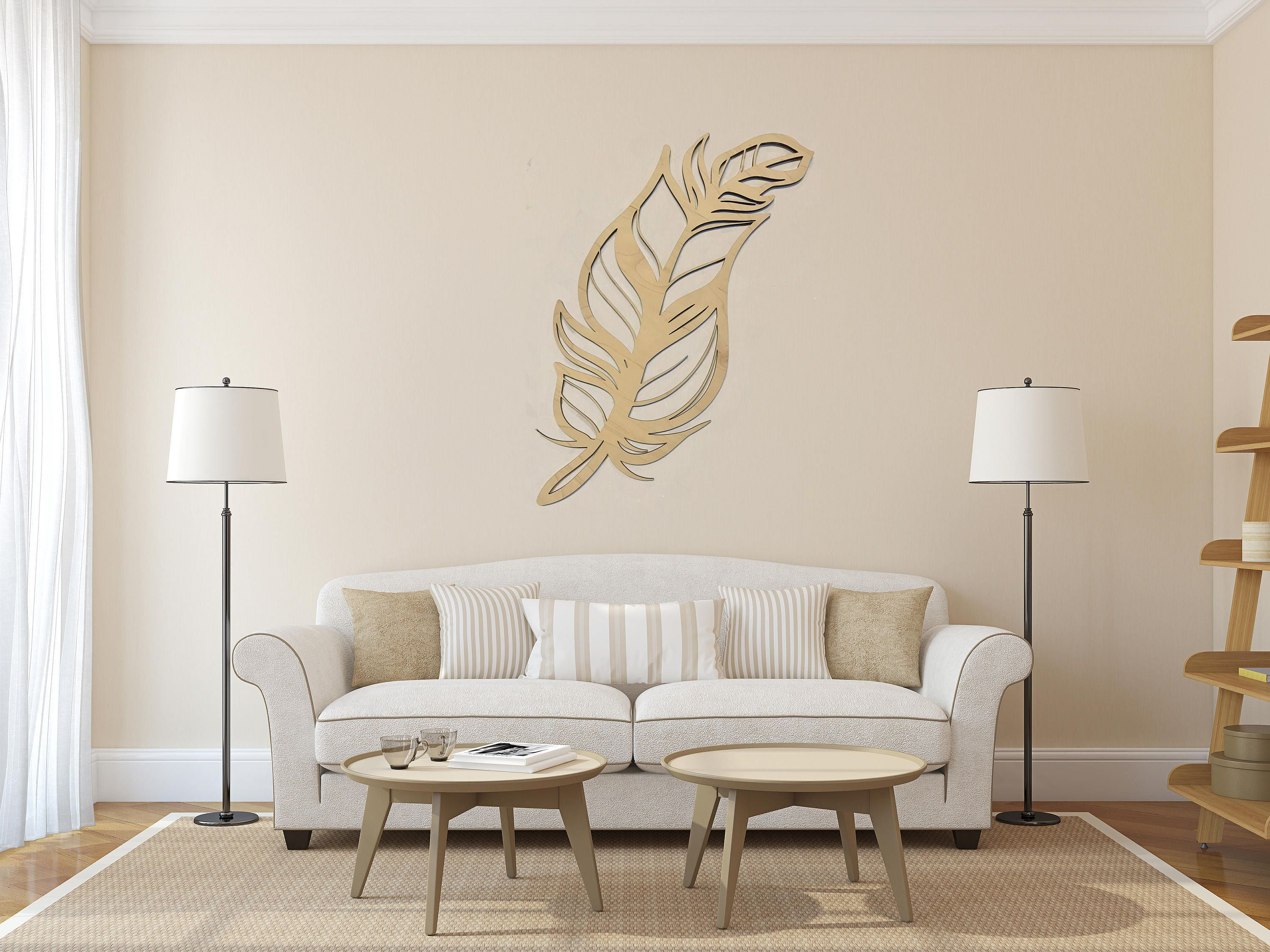 Entryway window ideas  feather cutout wall hanging  entryway sign  living room wall