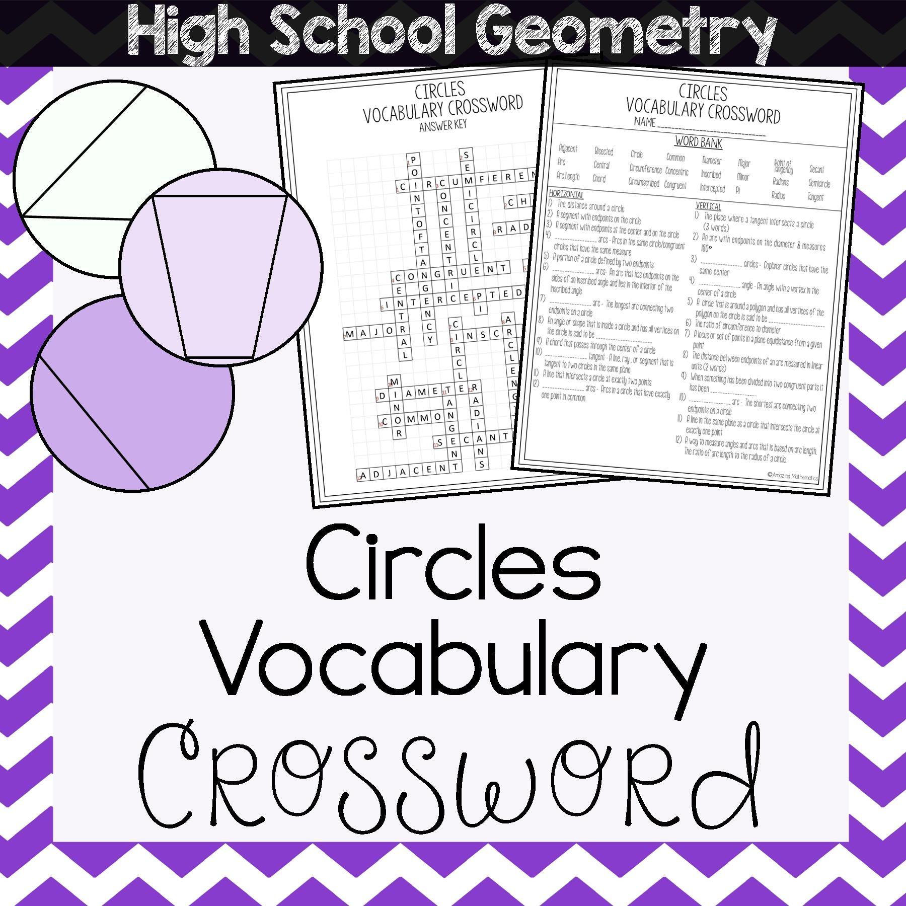 Circles Vocabulary Crossword