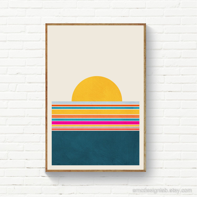 Mid Century Modern Wall Art Terracotta Sunset Poster Minimalist Landscape Print Abstract Sunset Geo Modern Sunset Art Print