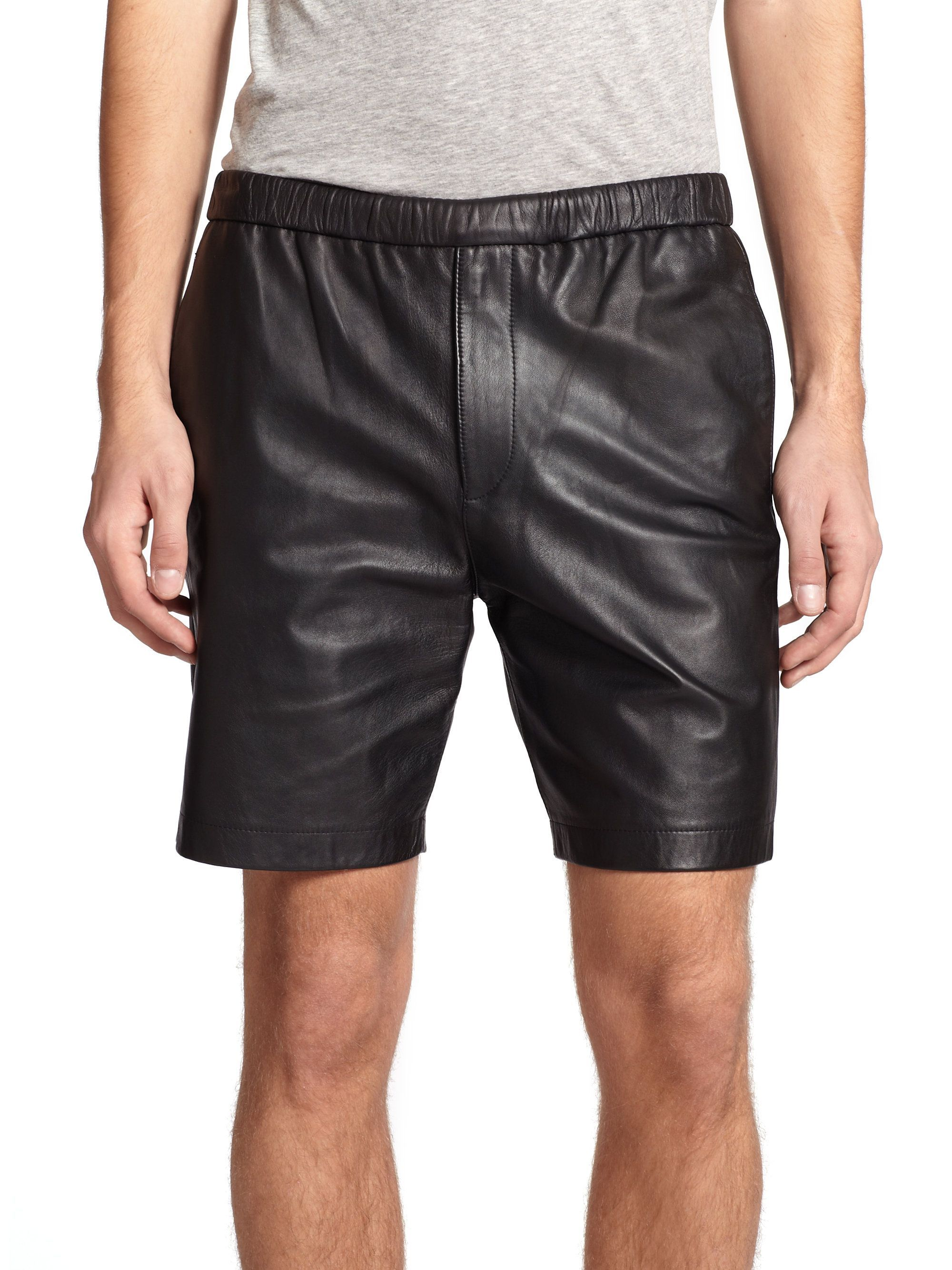 simple classic fashion black leather shorts for men in
