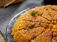 Hash Brown Cake with Dill Sour Cream #farmhouserulesrecipes farmhouse rules recipes | Food Network #farmhouserulesrecipes
