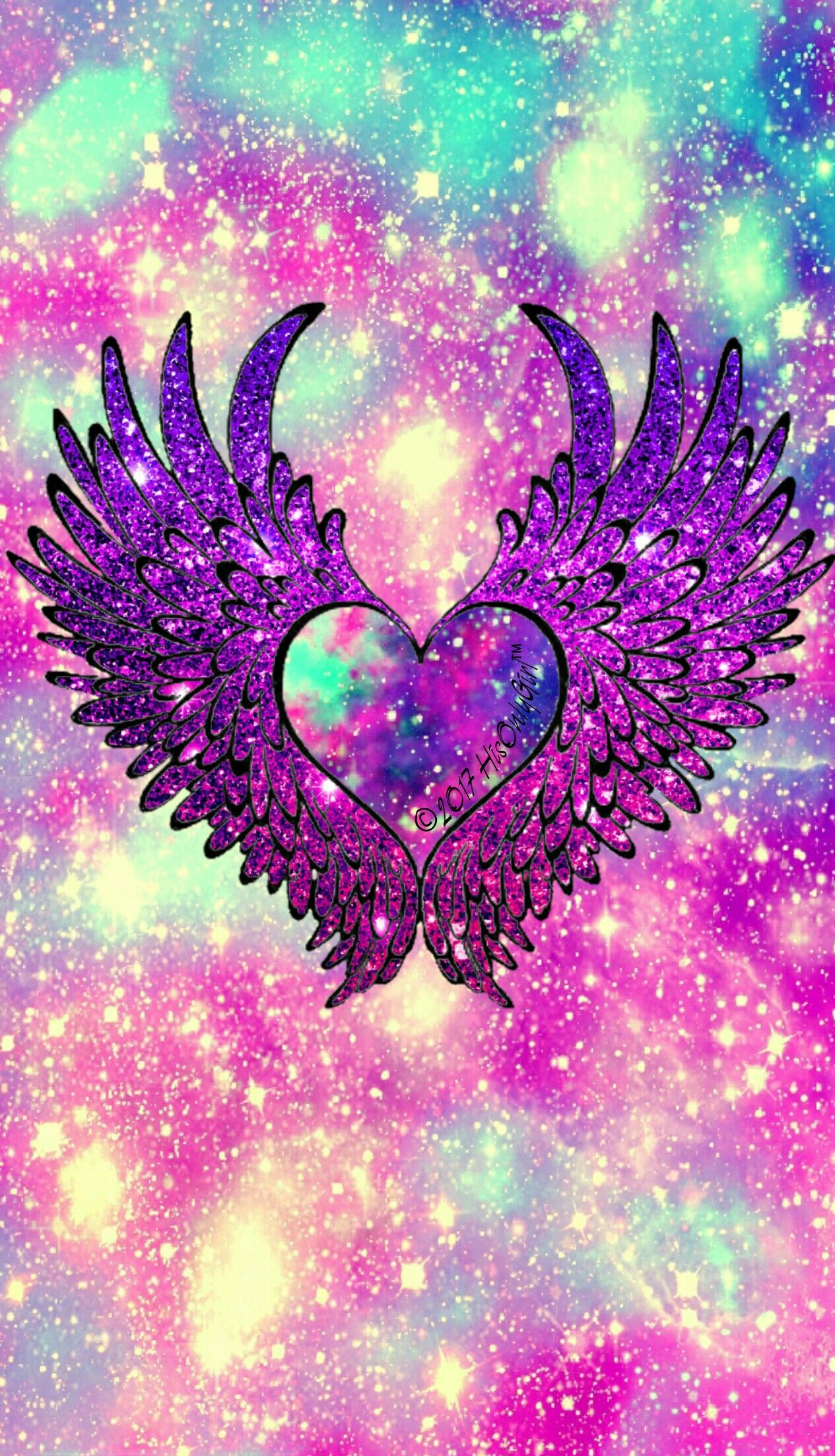 Angel heart wings galaxy wallpaper I created for the app ...
