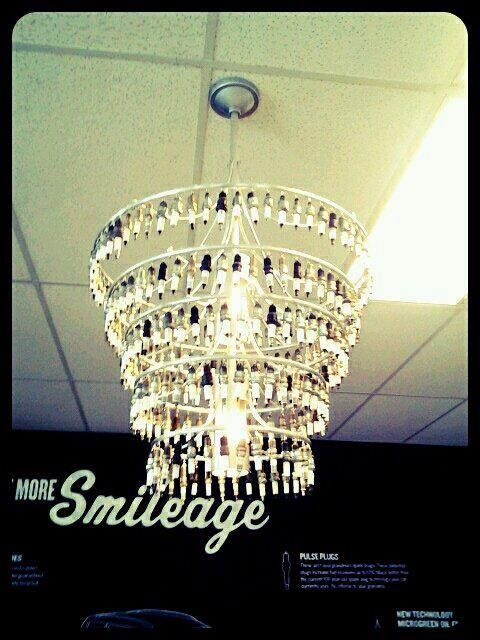 Spark plug chandelier | Metal craft ideas | Pinterest | Spark plug ...