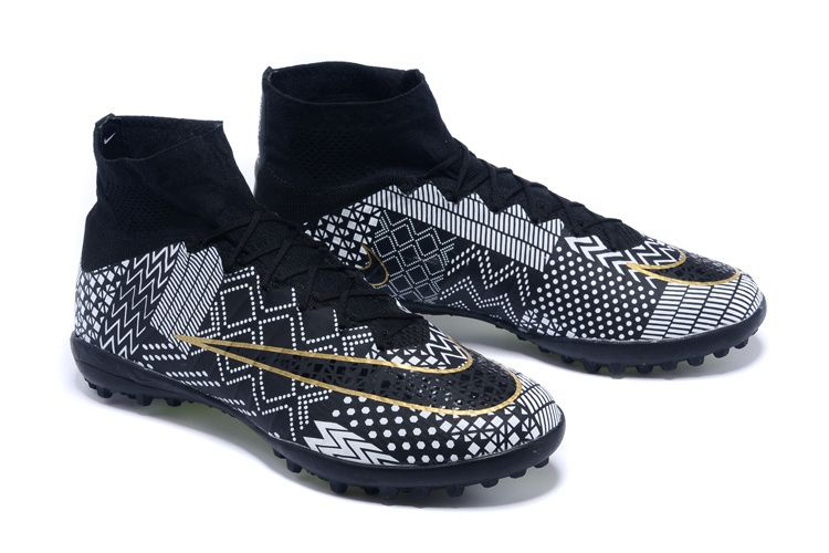 Colorful Nike Mercurial Superfly IV BHM TF Black White Gold $86.99