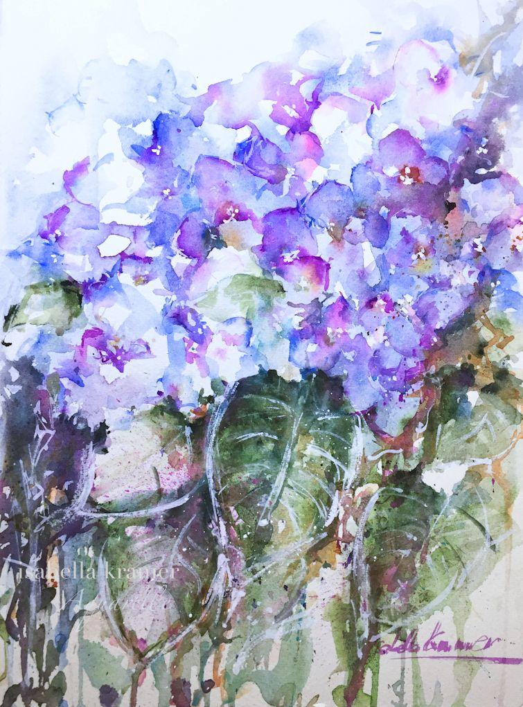blaue hortensien blue hydrangea painting aquarell watercolor flower painting flora nature. Black Bedroom Furniture Sets. Home Design Ideas