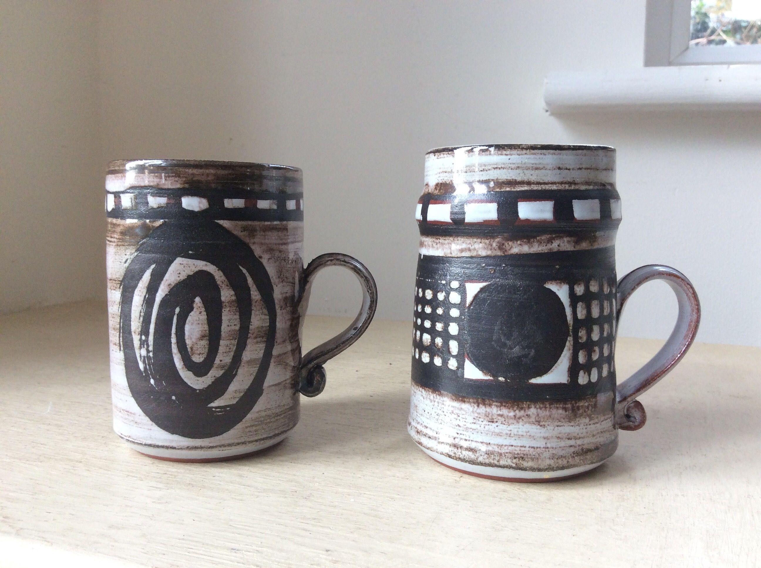 Marvelous Cute Pair Of C1970s Retro Vintage Artisan Made Studio Pottery Coffee Mugs,  Impressed Mark CB