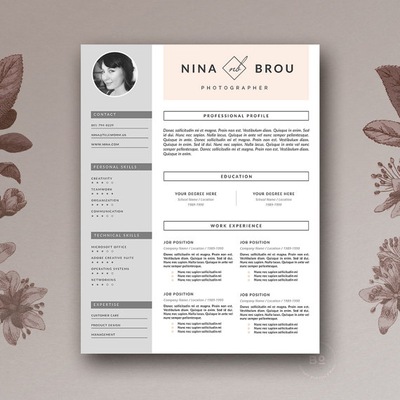 feminine resume template  u0026 cover letter for ms word and pages   stylish resume   minimal and