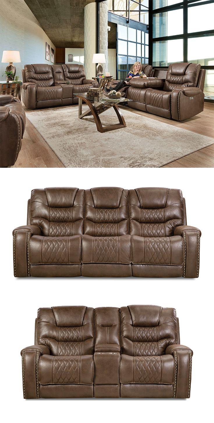 Sahara Power Reclining Sofa With Power Headrests And Drop Down Table By Corinthian In 2019