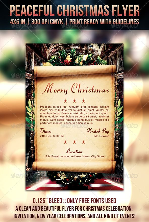 Peaceful Christmas Flyer Christmas flyer, Flyer template and Event - Invitation Flyer Template