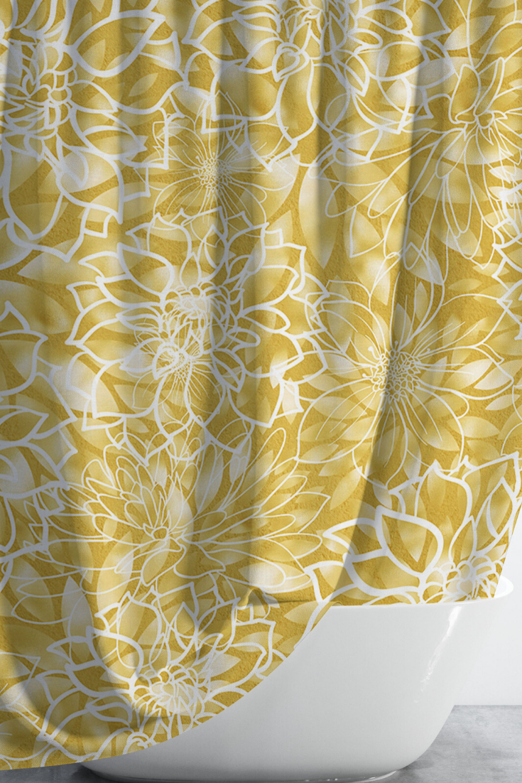 Yellow Floral Shower Curtain With Optional Matching Hand Towels