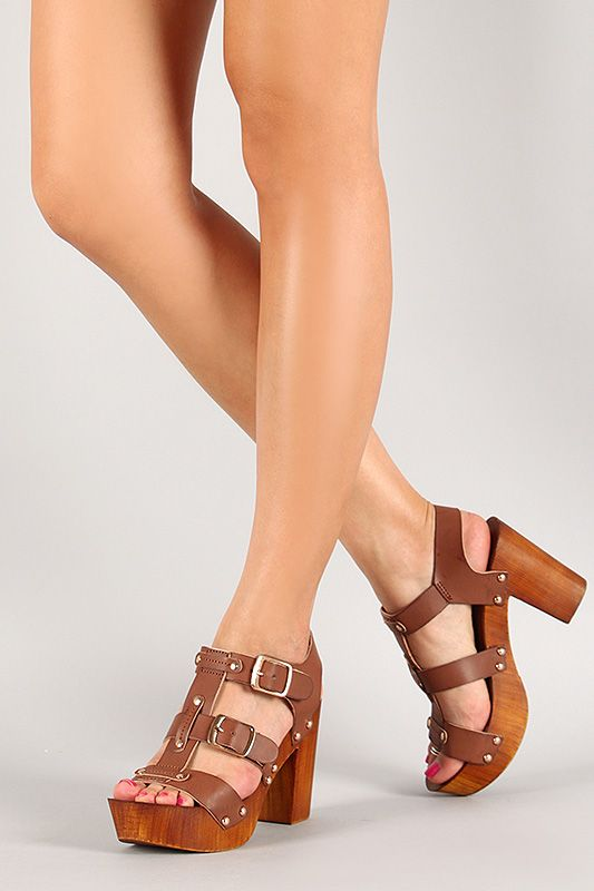 Bamboo Strappy Studded Faux Wood Heel  Chunky HeelsOpen ToeColour