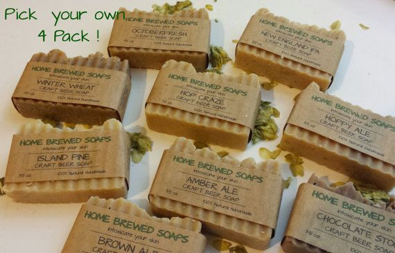 Pick your own 4 pack of Craft Beer Soaps gifts by HomeBrewedSoaps